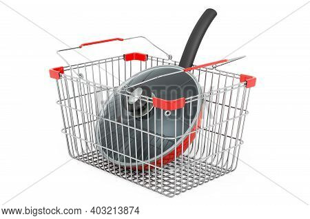 Shopping Basket With Frying Pan. 3d Rendering Isolated On White Background