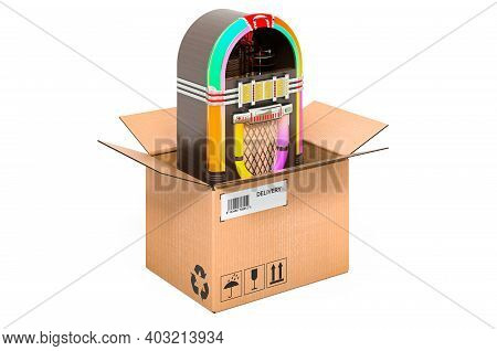Classic Jukebox Inside Cardboard Box, Delivery Concept. 3d Rendering Isolated On White Background
