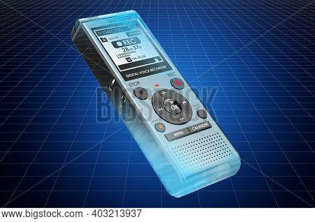 Visualization 3d Cad Model Of Digital Voice Recorder, Blueprint. 3d Rendering