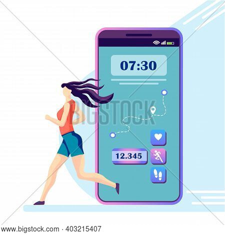 Vector Illustration Depicting A Running Girl And A Handy Mobile Application That Allows You To Track