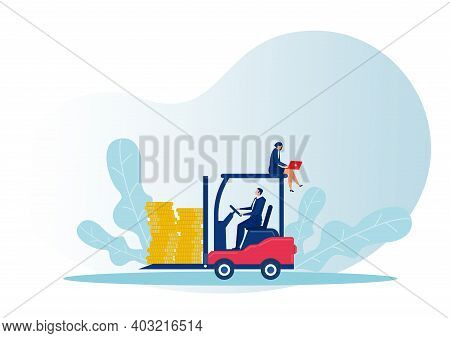 Businessman Driving Forklift Truck Loading Coin Delivery Frome Business Rich Concept