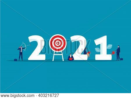 2021 Business Plan And  Target Achievement Concept On Blue Background.