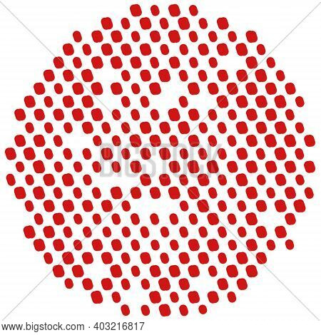 Simply Polka Overlay Stamp Texture Red Color For Your Design. Hand Made. Eps10 Vector.