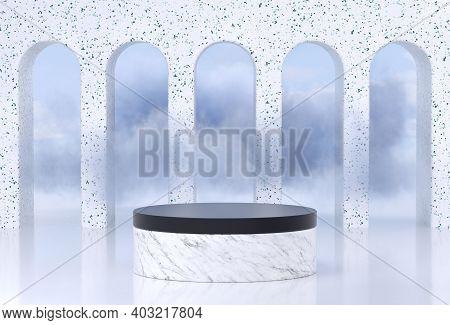Podium Stand With Terrazzo Stone Arcs For Product Display. Podium For Product Display With Clouds. 3
