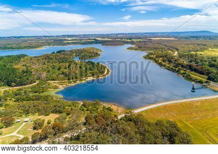 Devilbend Reservoir Lake - Aerial View. Mornington Peninsula, Victoria, Australia