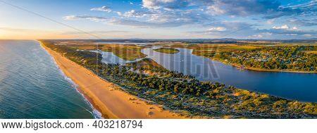 Scenic Ocean Beach At Sunset In Australia - Wide Aerial Panorama