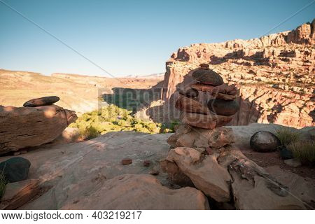 Cairn Stack At Overlook In Capitol Reef National Park