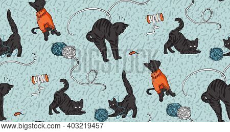 Cat Funny Print, Craft Stitching, Embroidery Print. Black Cat Playing With Yarn At Home, Catlover Ba