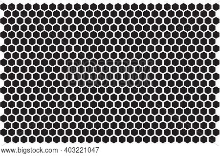 Hexagon Pattern. Seamless Honey Combs Background. Vector Black And White Hexagon Texture.