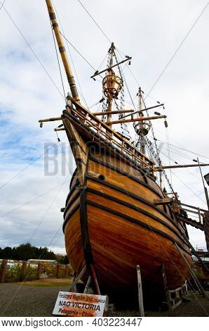 Punta Arenas, Chile - February 10, 2015: Magellan Replica Ship At The Nao Victoria Museum