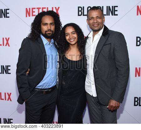 LOS ANGELES - MAY 24:  Mario Van Peebles, Makaylo Van Peebles and Morgana Van Peebles arrives for  the 'Bloodline' Season 3 Premiere on May 24, 2017 in Culver City, CA