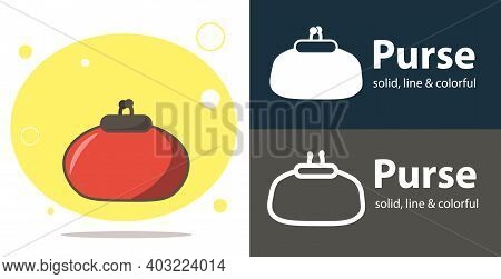 Woman Purse Isolated Vector Flat Icon With Purse Solid, Line Icons