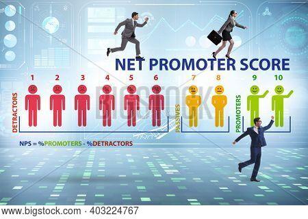 Net Promoter Score NPS concept with businessmen