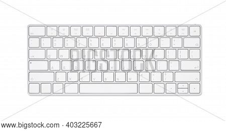 Close Up White Computer Keyboard Isolated On White Background With Clipping Path
