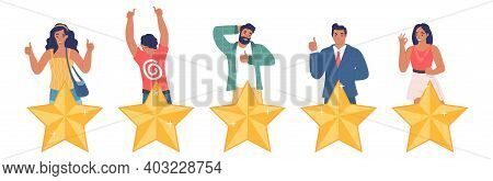 People Giving Five Star Feedback, Flat Vector Illustration. Customer Satisfaction Survey. Five Stars