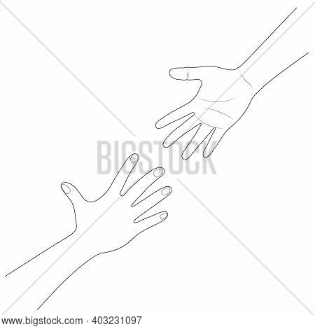 Hand Reaching To Each Other. Helping Hand. Close Up Body Part. Love Relationship Teamwork Together.