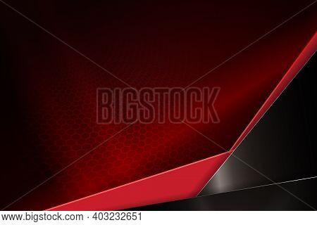 Abstract Dark Design In Red With Mesh Lattice Silhouette, An Oblique Corner In Brown And Red Shades