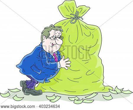 Fat Businessman Enjoying His Profit And Hugging A Big Bag Full Of Money, Vector Cartoon Illustration