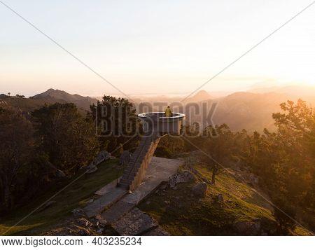 Sunrise Panorama Of Mirador El Fitu Del Fito Viewpoint Stairs Caravia Baja Picos De Europa Mountains