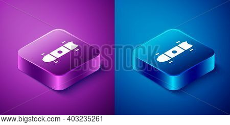 Isometric Longboard Or Skateboard Cruiser Icon Isolated On Blue And Purple Background. Extreme Sport
