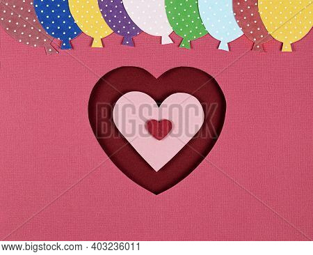 Paper Cut In The Shape Of Red Heart And Balloons On The Pink Background. Valentines Day Card, Paper