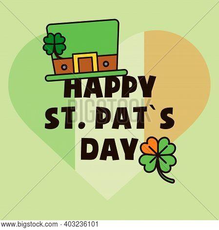 Saint Patrick's Day Gift Card, Design For Celebrities With Leprechaun Hat, Irish Flag And Quatrefoil