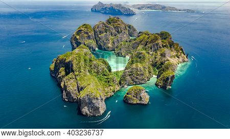 Aerial Drone View Of Tropical Ko Phi Phi Island, Beaches And Boats In Blue Clear Andaman Sea Water F