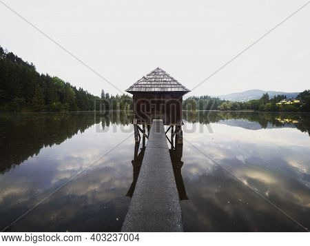 Wooden Walkway Leading To Old Boat House On Lake Muehlteich Muhlteich Woerthersee Moosburg Carinthia