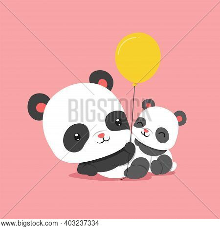 The Panda Is Playing The Balloons With Baby Panda