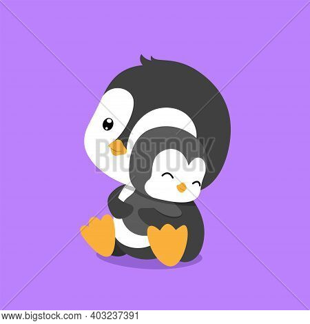 The Penguin Is Hugging Her Baby Penguin With Her Hand