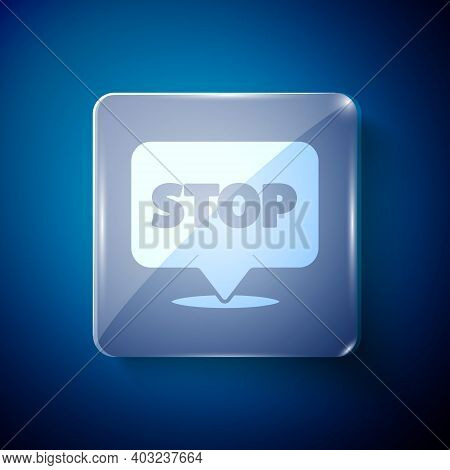 White Protest Icon Isolated On Blue Background. Meeting, Protester, Picket, Speech, Banner, Protest