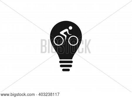 Bike, cycle apple shape concept vector logo. Apple sign. Bike, Cycle icon.