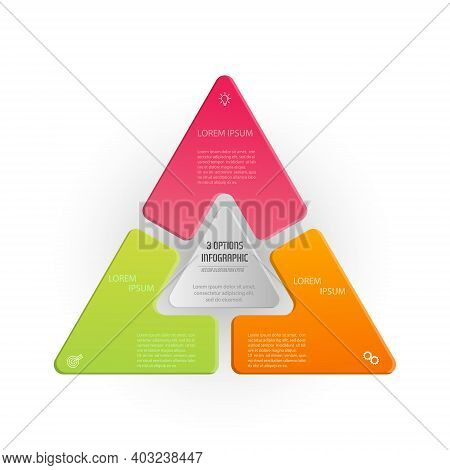 Triangle Infographics. The Triangle Diagram Is Divided Into 3 Parts. Business Strategy, Project Deve