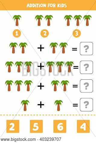 Addition Game With Cartoon Palm Tree. Math Game For Kids.