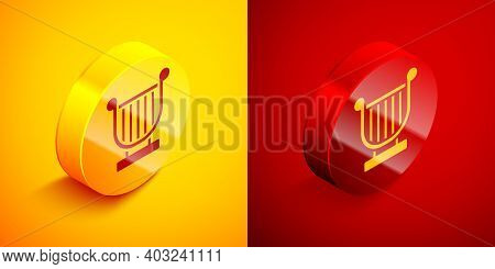 Isometric Ancient Greek Lyre Icon Isolated On Orange And Red Background. Classical Music Instrument,