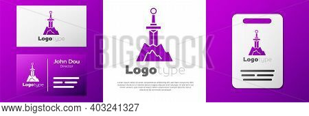 Logotype Sword In The Stone Icon Isolated On White Background. Excalibur The Sword In The Stone From