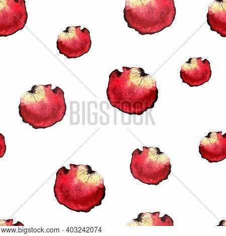 Seamless Pattern Of Red Rose Petals Of Different Sizes On A White Background. Images For Design And