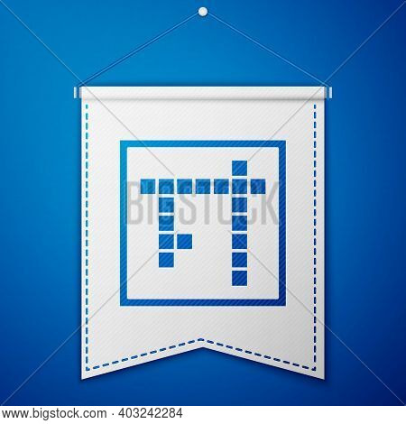 Blue Bingo Icon Isolated On Blue Background. Lottery Tickets For American Bingo Game. White Pennant