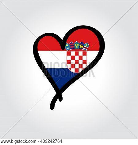 Croatian Flag Heart-shaped Hand Drawn Logo. Vector Illustration.