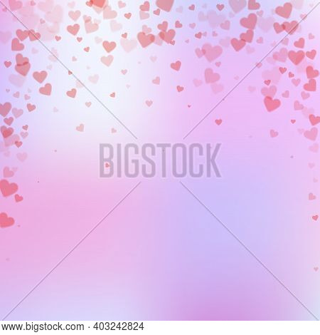 Red Heart Love Confettis. Valentines Day Falling Rain Attractive Background. Falling Transparent Hea