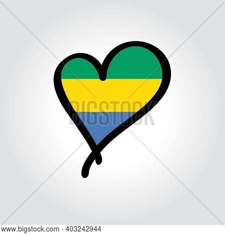 Gabon Flag Heart-shaped Hand Drawn Logo. Vector Illustration.
