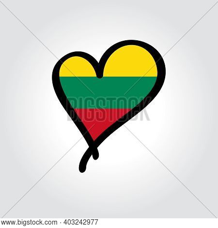 Lithuanian Flag Heart-shaped Hand Drawn Logo. Vector Illustration.