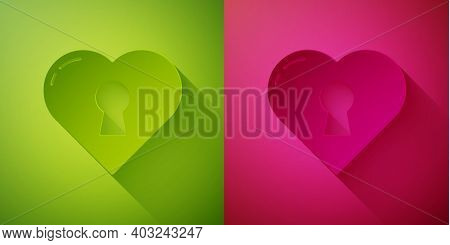 Paper Cut Heart With Keyhole Icon Isolated On Green And Pink Background. Locked Heart. Love Symbol A