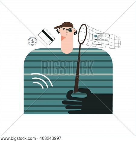 Online Fraud And Phishing Scam Concept. Crime Virtual Social Media Fraud. Swindler And Thief . Moder