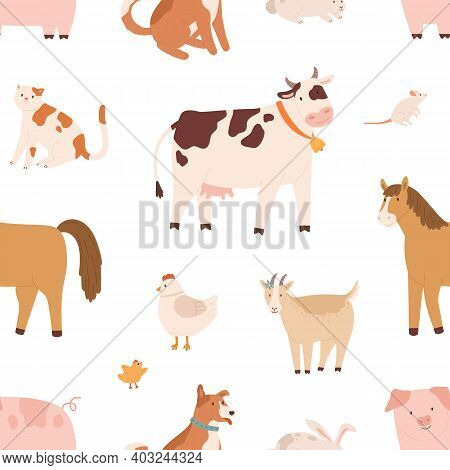 Seamless Pattern With Farm Domestic Animals. Endless Repeatable Backdrop With Cow, Horse, Goat, Pig,
