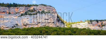The Eagle Cliff Near Mezmay Settlement. Mountain Region Of Russia