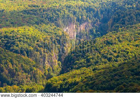 Mountain Landscape. Gorge And Mountains Covered By Forest