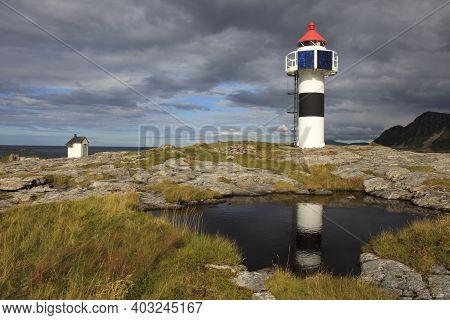 Vesteralen Islands / Norway - August 31, 2017: A Lighthouse Near Andenes, Vesteralen, Vesterålen, No