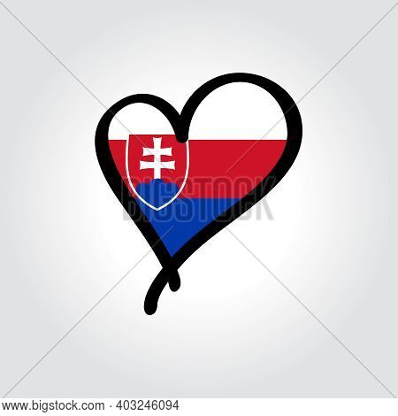 Slovakian Flag Heart-shaped Hand Drawn Logo. Vector Illustration.