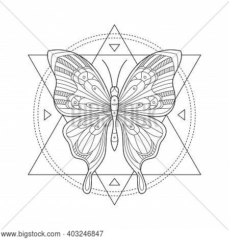Vector Illustration Of Mystic Butterfly. Sacred Geometry Print. Butterfly In Triangles And Circes. T